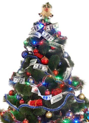 Christmas tree with money dollar garland.