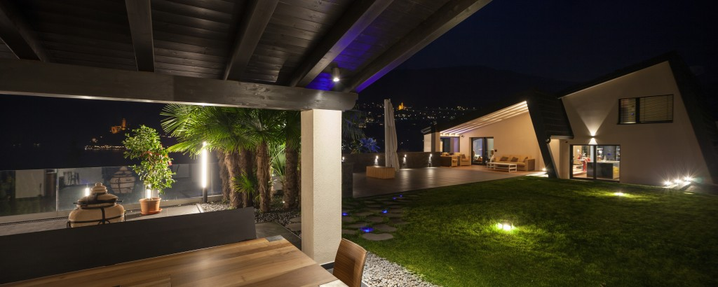 Modern villa in the night, outdoor