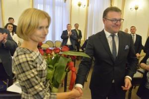 Prezydent gratukuje Kindze Bogusz wyboru na przewodniczącą rady miejskiej