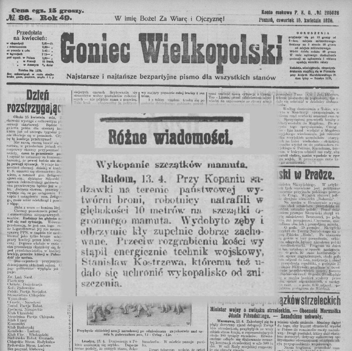Mamut z GW 15 IV 1926