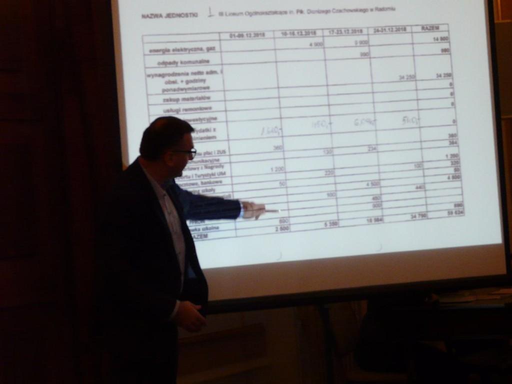 Skarbnik miasta Sławomir Szlachetka objaśniał wszystkie dane w rubrykach